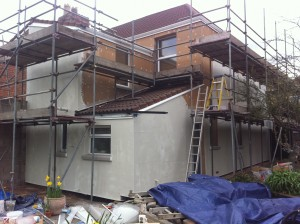 External wall insulation: image shows the Carey base coat applied