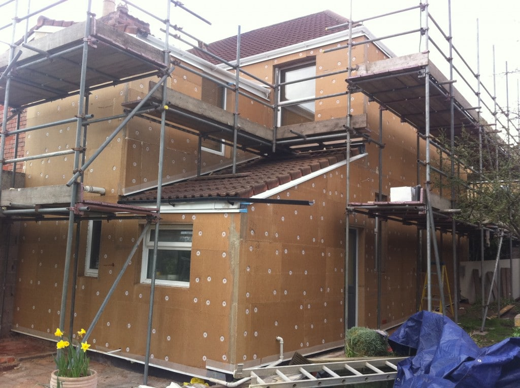 External wall insulation: wood fibre cladding is fixed prior to application of base coat