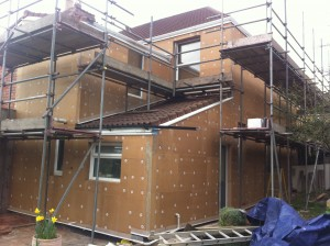 External Wall insulation: wood fibre cladding is fixed to the building